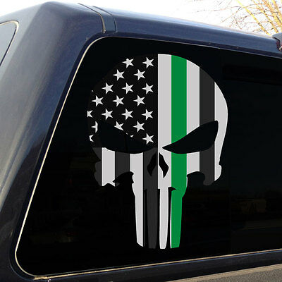 Punisher Skull Thin Green Line American Flag Subdued Decal