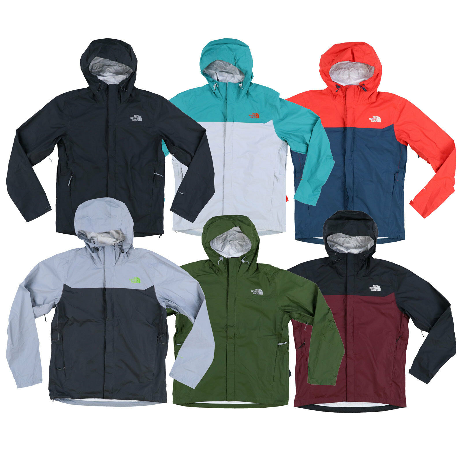 A North Face Mens Rain Jacket Venture Coat vízálló szélvédő csomagolható Új