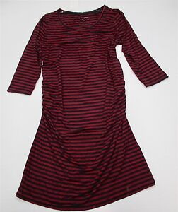 new-LIZ-LANGE-MATERNITY-DR357-Women-039-s-Size-S-Fitted-Red-Striped-Bodycon-Dress