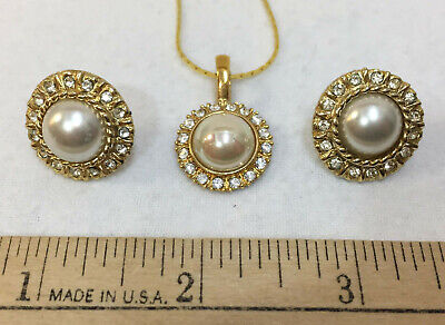 Vintage Rhinestone Embellished Heart Charm and Earrings Knotted Pearls NOSWT Costume Jewelry ROMAN Faux Pearl Necklace and Earring Set