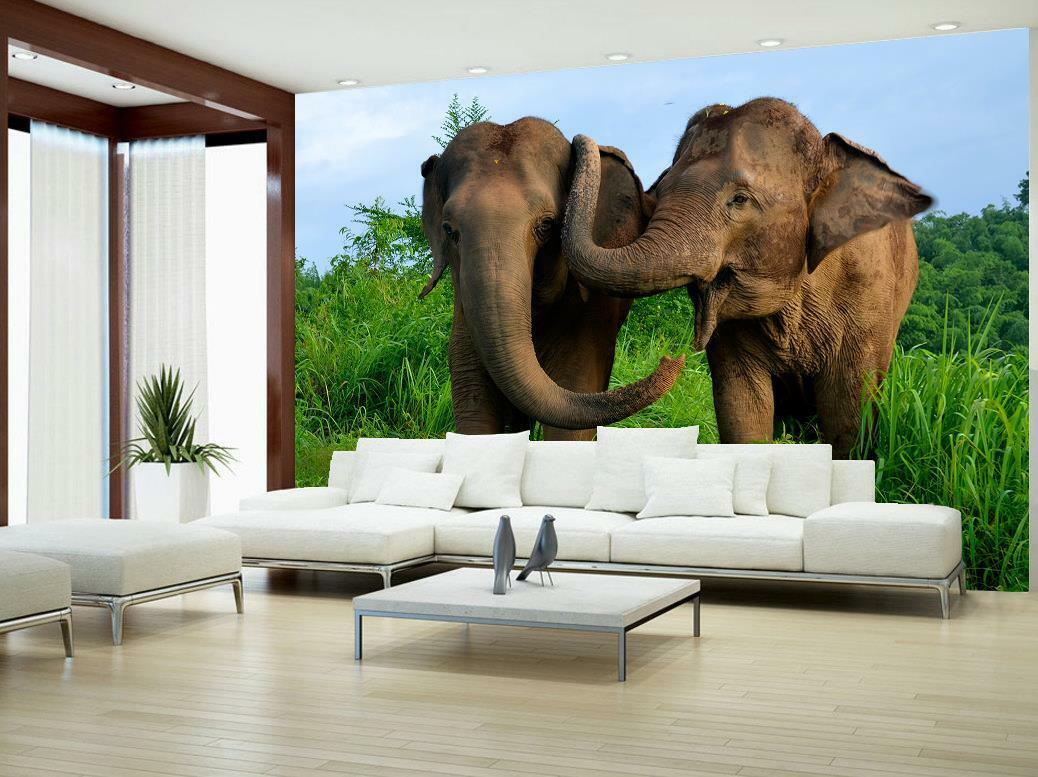 Elephants Animals Photo Wallpaper Woven Self-Adhesive Wall Mural Art M77
