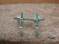 Small Native American Sterling Silver Turquoise Cross Post Earrings! Zuni Indian