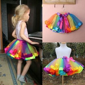bd8ee61d4d Baby Kids Girl Colorful Rainbow Tutu Party Ballet Dress Skirt Pettiskirt ...