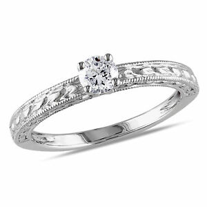 Amour 1/3 CT TW Diamond Solitaire Engagement Ring in 14k White Gold