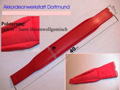 Rot gepolsterter Leder-Imitat Gitarrengurt mit Ende in Dreieckform