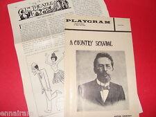 1960 NY playbill A Country Scandal Playgram Anton Chekov w/Review