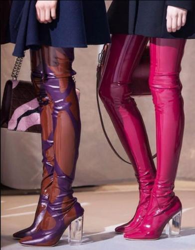Sexy Mujeres Charol Claro Bloque talón a la rodilla muslo alto Zapatos botas Largas
