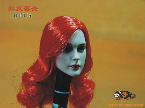 """1//6 BELET BT015 Female Head Sculpt Red Planted Hair F12/"""" Phicen Body Figure Doll"""