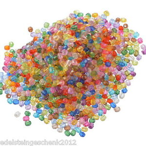 500-Mix-Acryl-Boehmen-Facettiert-Rund-Spacer-Perlen-Beads-Bicone-Rhombe-6mm
