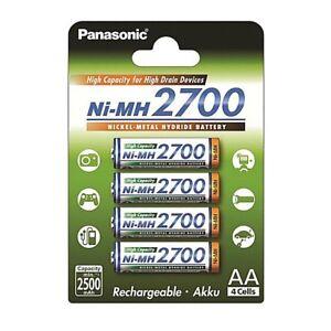 4 x Panasonic AA NiMH 2700mAh (min. 2500mAh) 1,2V Akku BK-3HGAE / 4BE Mignon