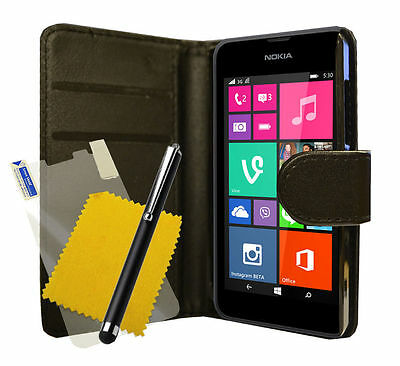 For Nokia Lumia 532 Black Pu Leather Phone Case Cover And Free Screen Protector