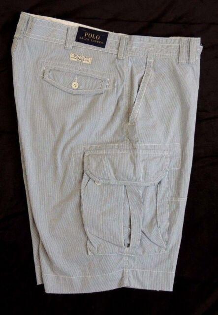 Ralph Lauren Thin Blue//white Stripe Cargo Short W32