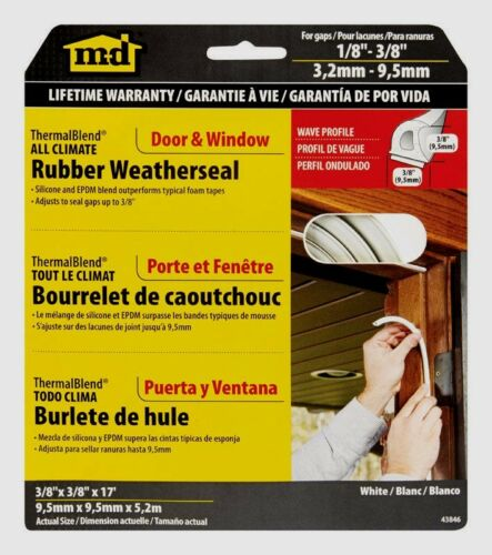 """MD 43846 Rubber Weatherstrip ALL CLIMATE Door Window Draft Seal 3//8/""""x17/' WHITE"""
