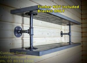 Silver Rustic Industrial Pipe Book shelf Shop Storage Bar Shelving Bracket BS07