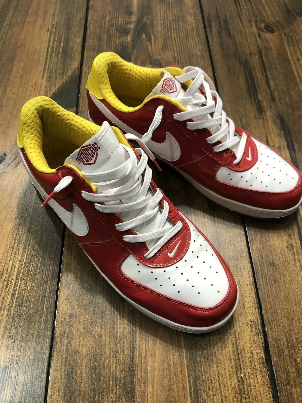 2005 Nike Air Force 1 Premium Hoops Pack Red White Maize • 313249-611 • 13