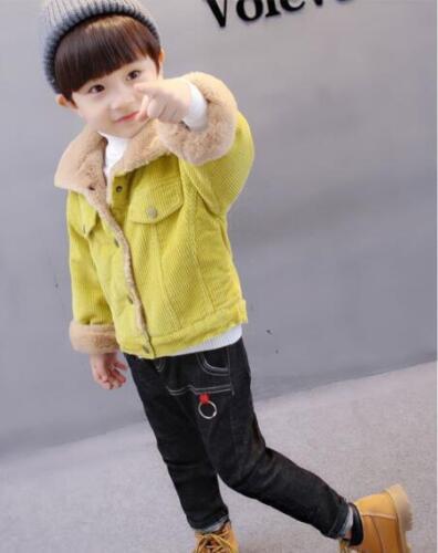 Kids Children Boys New Corduroy Faux Fur Lined Winter Coat Jacket Outwear XUNLA