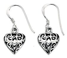 Elements 12mm Delicate 925 Oxidised Silver Filigree Puffed Heart Drop Earrings