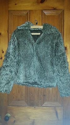 2019 Moda Vintage Con? Donna In Finta Pelliccia Giacca/maglione Con Tasche Grigio/marrone 38 Sul Petto-mostra Il Titolo Originale