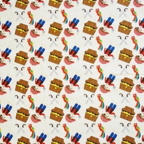 100/% Cotton Poplin Fabric By Fabric Freedom Treasure Island Pirates Parrots