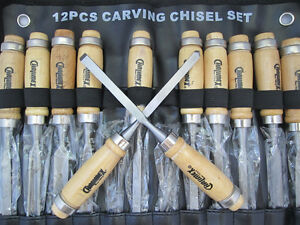 New-12pcs-Professional-Wood-Carving-Chisels-Hand-Tools-Kit-w-Alloy-steel-blade