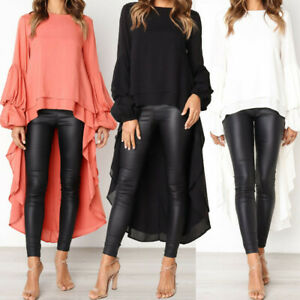 Women-Long-Sleeve-Asymmetrical-Waterfall-Shirt-Tops-High-Low-Plus-Blouse-Shirt