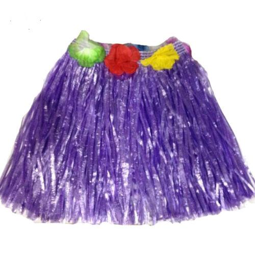 Kids Girls Hawaii Fancy Dress Grass Skirt Hula Flower Bra Lei Garland Hawaiian