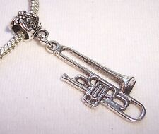 Trombone Musical Instrument Band Music Dangle Bead for European Charm Bracelets