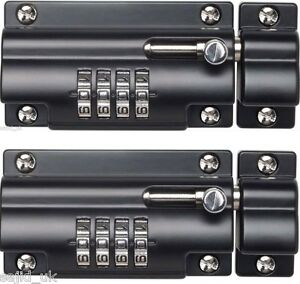 2x sterling combination code lock sliding door bolt for gates doors sheds 110mm ebay - Sliding door combination lock ...