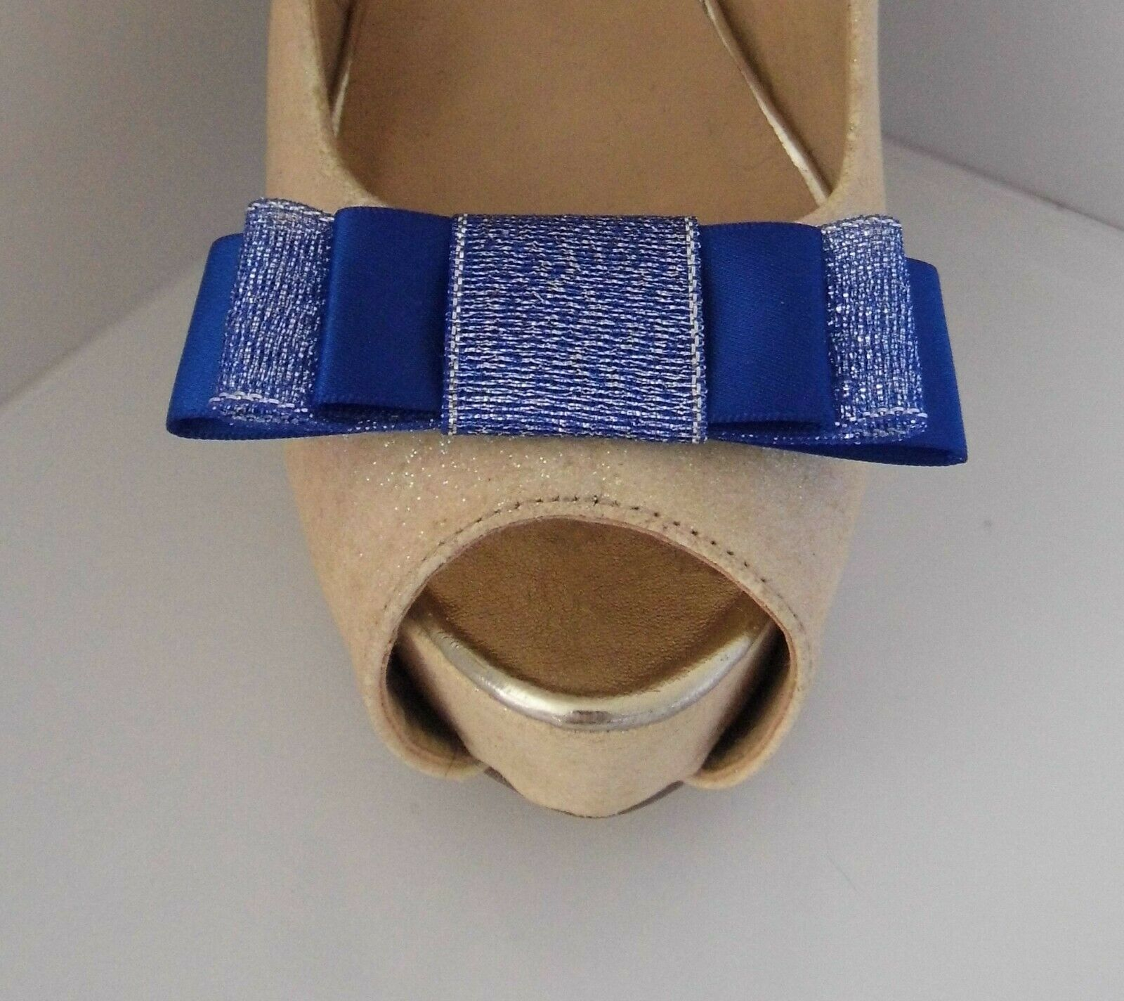 2 Royal Blue Satin & Glitter Triple Bow Clips for Shoes