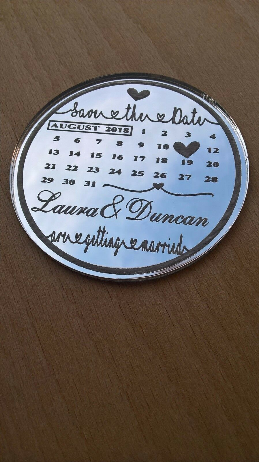 Finition miroir Date calendrier Save the Date miroir AiFemmets de réfrigérateur avec Gratuit Enveloppes 28af60