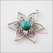 2Pcs Retro Tibetan Silver Turquoise Flower Charms Pendants Connectors 37.5x47mm