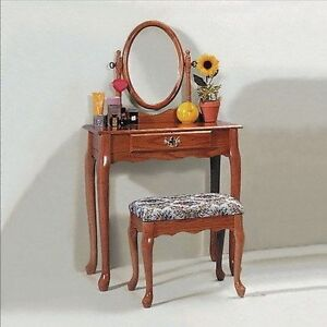 Queen Anne Bedroom Set Details Oak or Cherry Queen Anne Vanity set with Table & Makeup Bench new ...