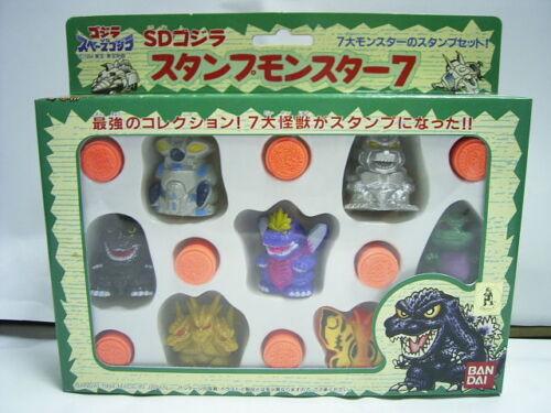 1994 Bandai Gashapon SD Godzilla stamp figure box set 7