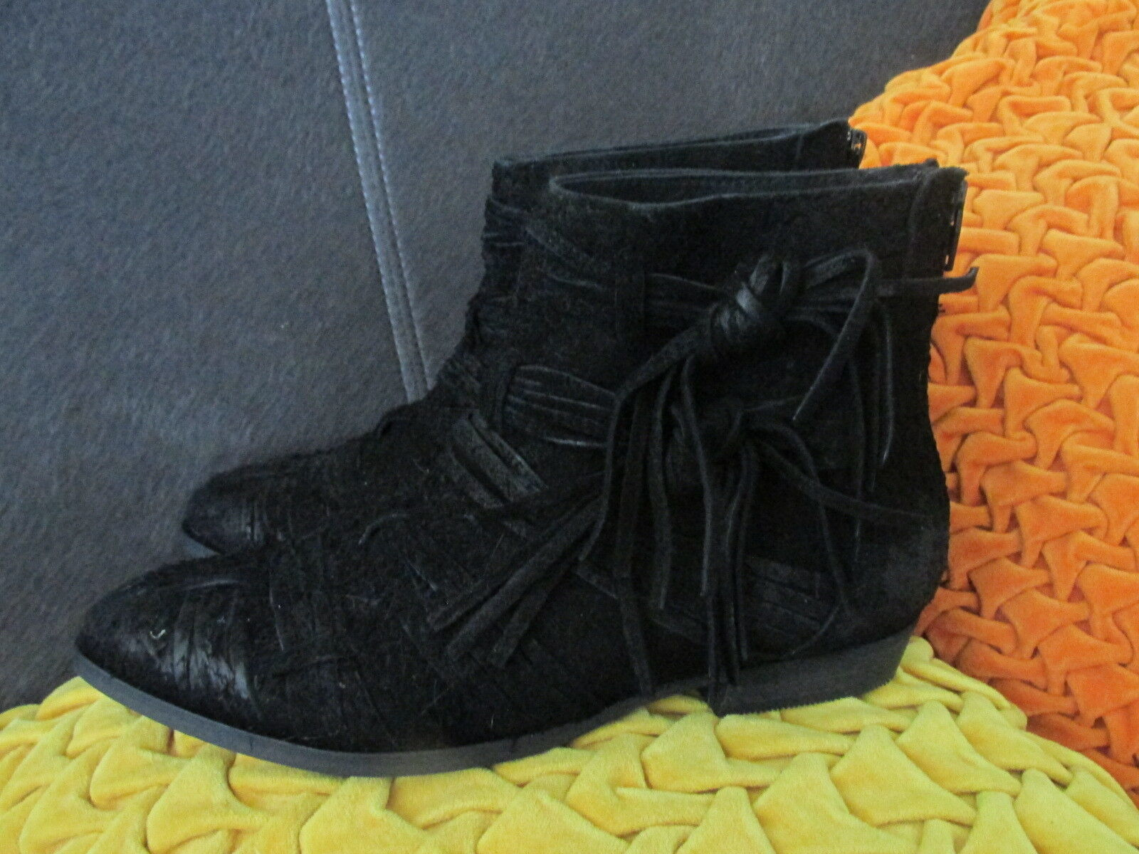 Free People Black Distressed Suede Decades Ankle Boots Booties US 7 NWOB