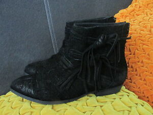 Free People schwarz schwarz schwarz Distressed Suede Decades Ankle Stiefel Booties EU 37 10e7a3