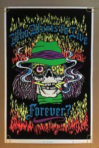 Live-Forever-Original-Vintage-Blacklight-Poster-Velvet-Skull-Skeleton-80-s-Pinup