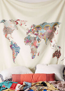 World map indian tapestry wall hanging mandala throw hippie gypsy image is loading world map indian tapestry wall hanging mandala throw gumiabroncs Choice Image