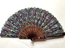 Black Spanish Embroidered Cloth Folding Hand Fan Bridal