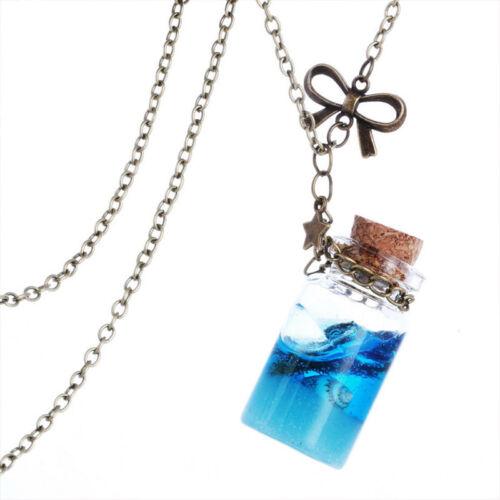 Blue Sea Ocean Glass Wishing Bottle Pendant Mermaid Tears Vial Necklace Jewelry