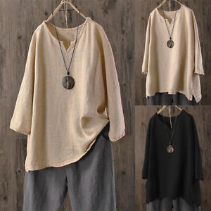 Plus-Size-Womens-Summer-Loose-Baggy-Tops-Tunic-T-Shirts-Short-Sleeve-Blouse-Tee