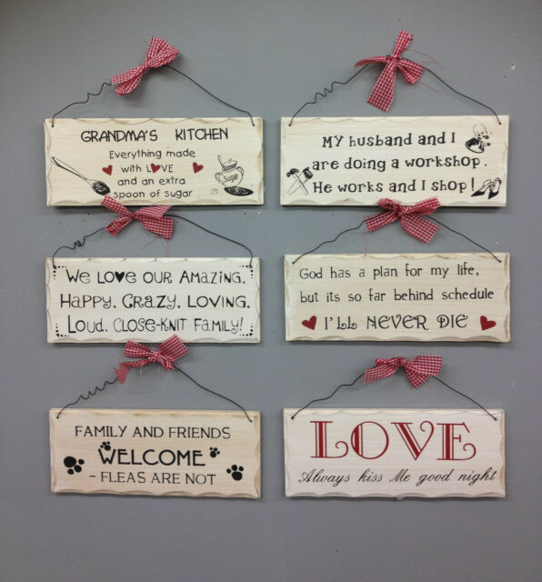 SHABBY CHIC WOODEN PLAQUE/SIGNS HANGING WALL WORDS DOOR HOME GIFT XMAS