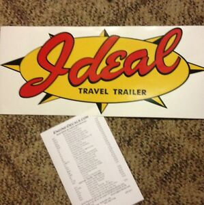 Ideal-Vintage-style-Travel-Trailer-Decal-Red-Yellow-amp-Black-23-034-Set-of-2