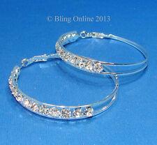 LARGE 6cm WIRE HOOP EARRINGS WITH DIAMANTE CRYSTAL DETAIL WEDDING BRIDAL BLING