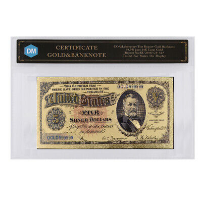 Home Decorative Souvenir Gifts 5 Dollar 24k Gold Plated Bill Note with COA Frame
