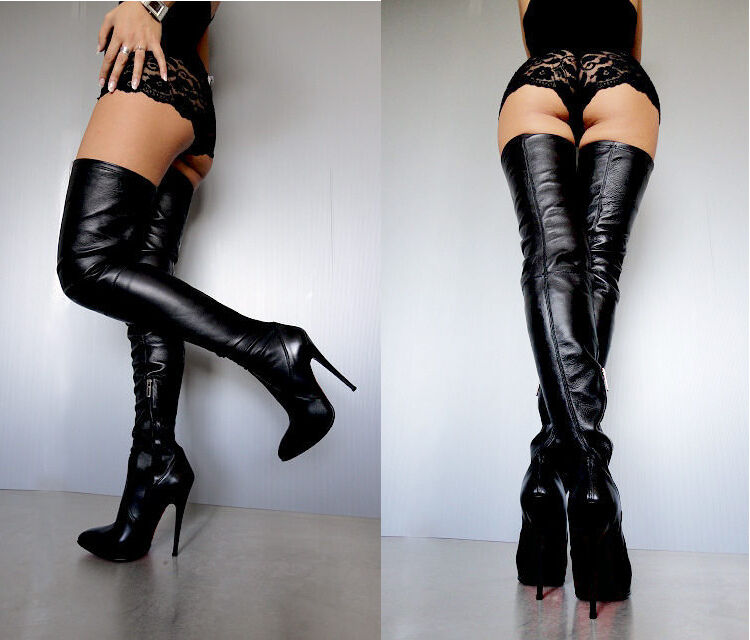 CQ COUTURE NEW OVERKNEE BOOTS STIEFEL STIVALI STRETCH REAL LEATHER BLACK black 40