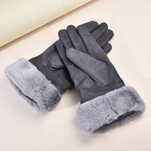 Winter Touch Screen Gloves Women Warm Suede-lined Full Finger Windproof Gloves