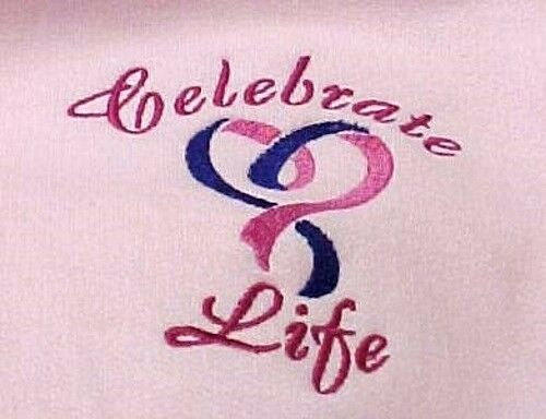 Hoodie Sweatshirt M Cancer Awareness Celebrate Life Heart Embroidery Pink New