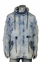 Smoke Rise Ice Blue Denim Fishtail Parka W/ Rip Off Detail