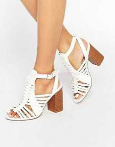 306a672b5f4 WOMENS NEW LOOK SIZE 8 42 WHITE MID HEEL GLADIATOR SANDALS SHOES ...