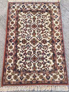 Raisonnable Tapis Fait Main Laine Inde Carpet Afombra 94x64cm Tappeto Teppiche Rugs Carpet